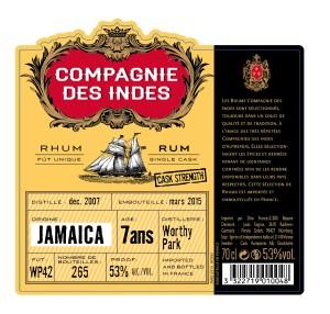 Rhum compagnie des indes JAMAICA 7ANS 53%